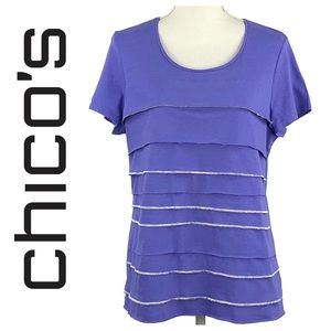 CHICO'S | Purple Scoop Neck Tier Top